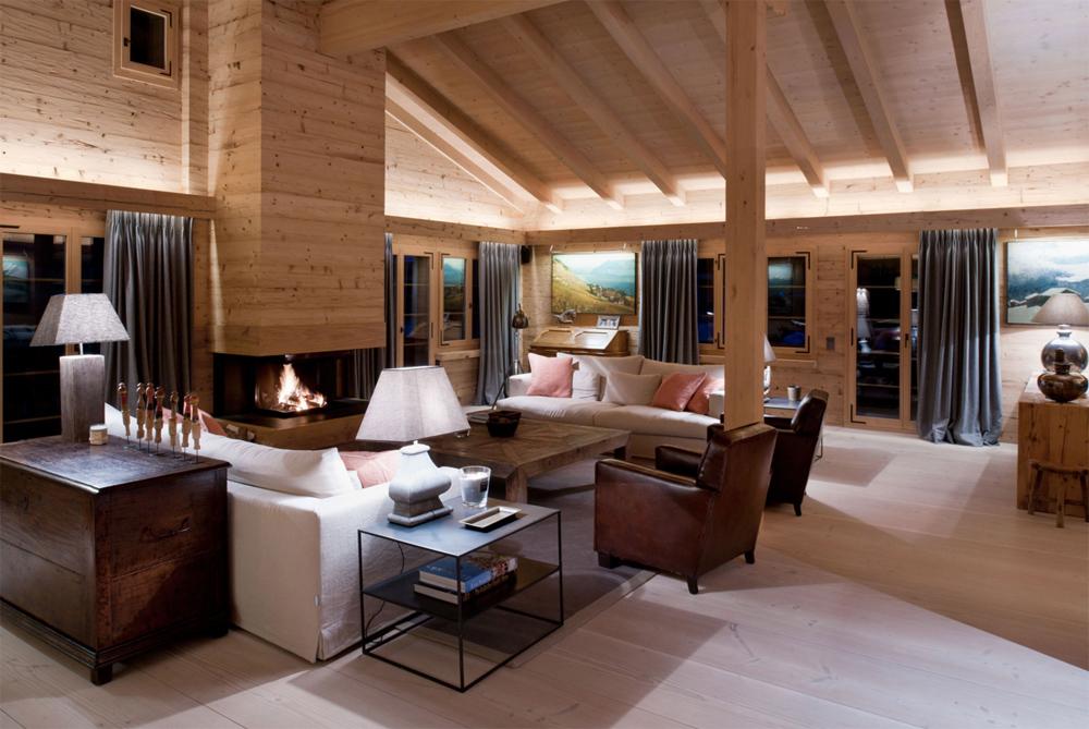 Дизайн дома из бруса с камином